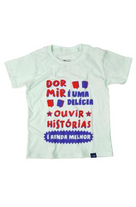 """Camiseta infantil """"Dormir e ouvir histórias"""" - Malha verde"""